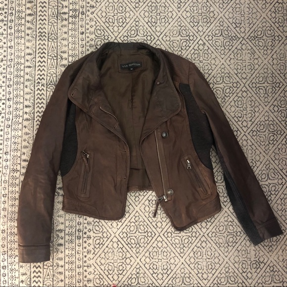Via Spiga Jackets & Blazers - Leather Cashmere Jacket Via Spiga M brown Grey